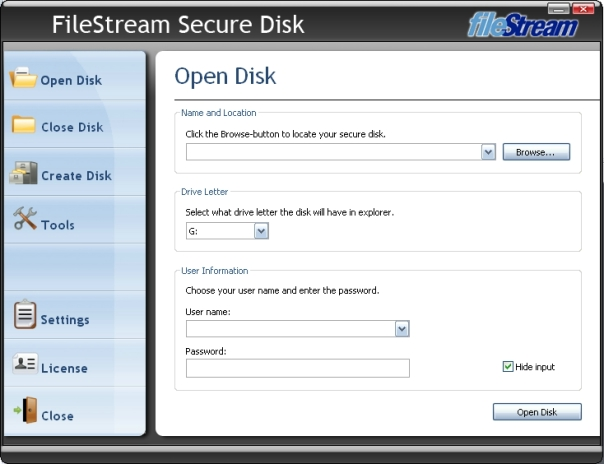 Click to view FileStream Secure Disk 1.7.1.0.2010 screenshot