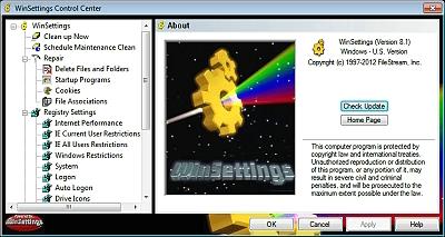 Click to view FileStream WinSettings 8.1 screenshot